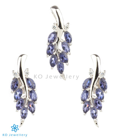 The Grazia Silver Pendant Set (Iolite/Blue)