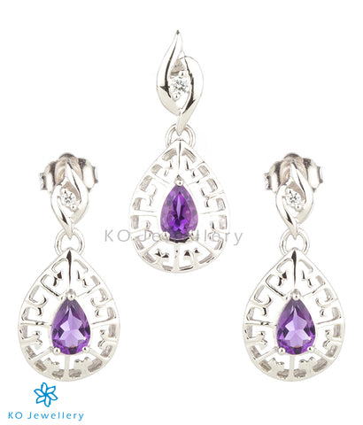 The Zara Silver Pendant Set (Amethyst)