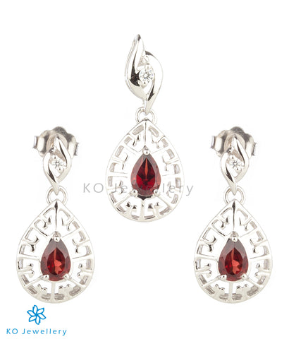 The Zara Silver Pendant Set (Red)