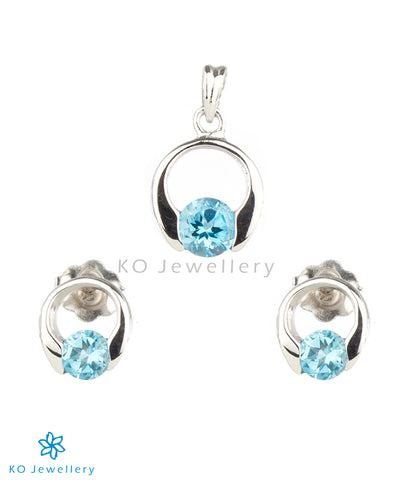 The Eve Silver Pendant Set (Light Blue)