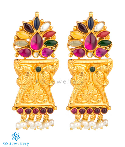 The Manmatha Silver Parrot Navaratna Earrings