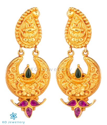 Authentic gold coated temple jewellery jhumkas
