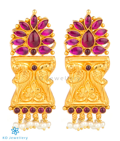 The Manmatha Silver Parrot Earrings