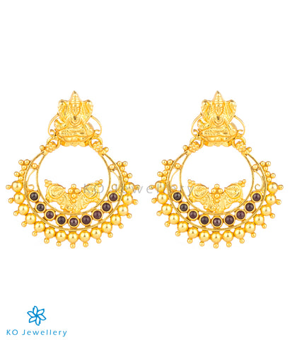 Gold dipped chandbali or ancient Indian earrings in pure silver