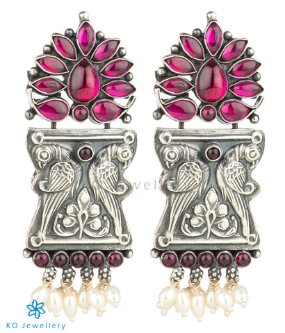 The Manmatha Silver Parrot Earrings(Oxidised)