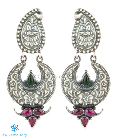 The Ardha Chandra Silver Earrings (Oxidised)
