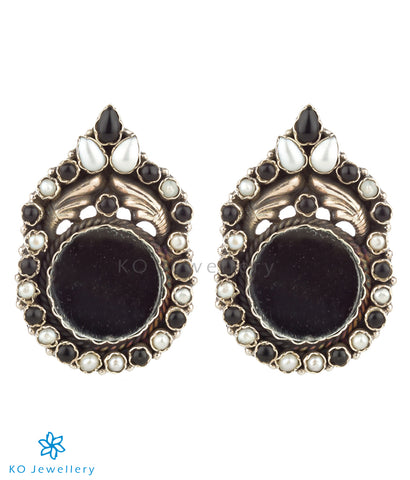 The Darpana Silver Gemstone Mirror Earrings (Black Onyx/Pearl)