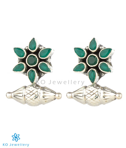 The Taraash Silver Gemstone Earrings (Green)