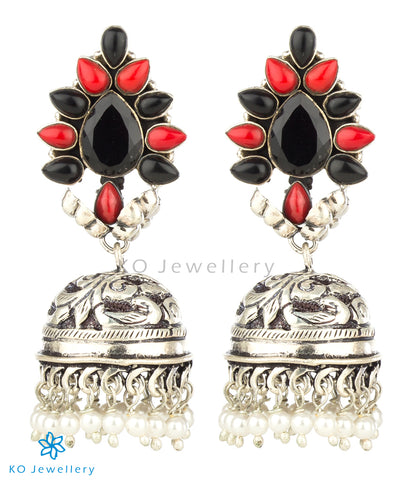 The Aarzoo Silver Gemstone Jhumka(Red/Black)