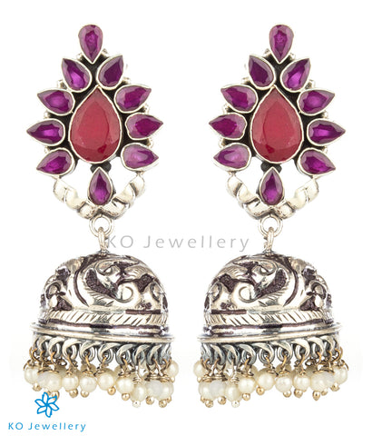 The Aarzoo Silver Gemstone Jhumka(Red)