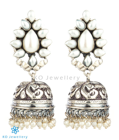 The Aarzoo Silver Gemstone Jhumka(Pearl)