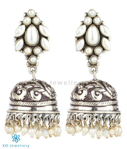 The Samaira Silver Gemstone Jhumka (Pearl)