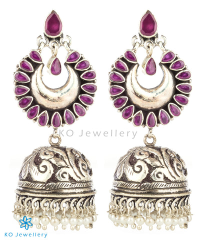 The Nihad Silver Gemstone Jhumka(Red)