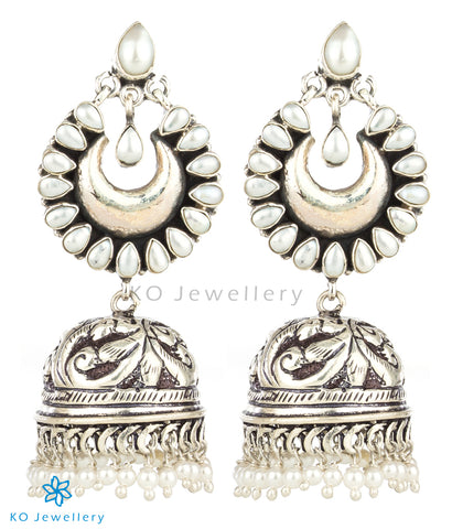 The Nihad Silver Gemstone Jhumka(Pearl)