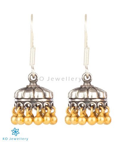 The Mandira Silver Jhumka(Two-tone)