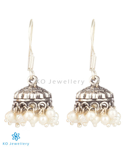 The Manthan Silver Pearl Jhumka