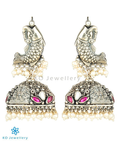 The Visara Silver Fish Jhumka(Oxidised)