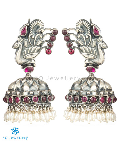 The Zikhin Silver Peacock Jhumka(Oxidised)