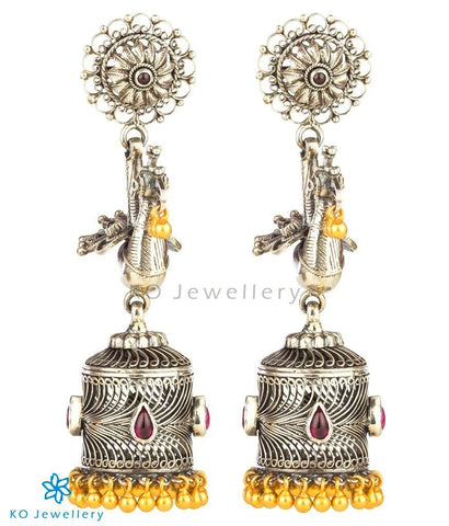 The Mayil Silver Peacock Jhumka(Two-tone)