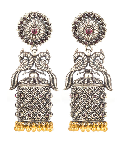 The Mayuraka Silver Peacock Jhumka (Two-tone)