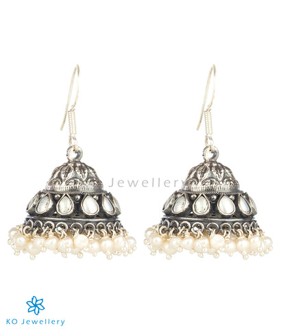 The Madhurya Silver Pearl Jhumka(Oxidised)