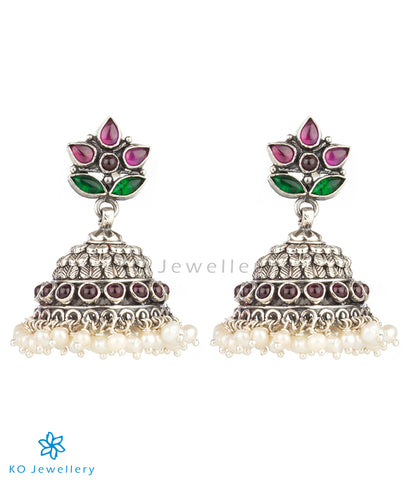 The Anandita Silver Kempu Jhumka(Oxidised)