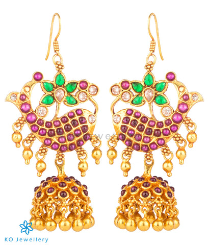 Dazzle in these gemstone studded temple jewellery jhumkas by KO