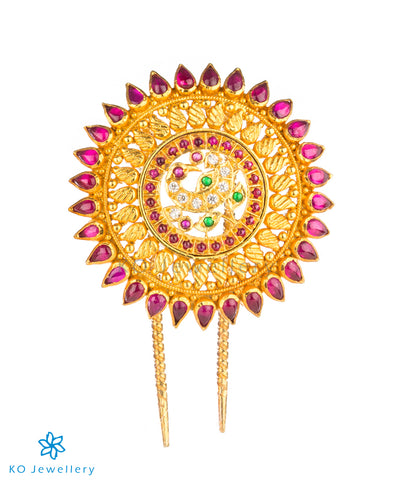 Temple jewellery gold plated hair pin with peacock motif