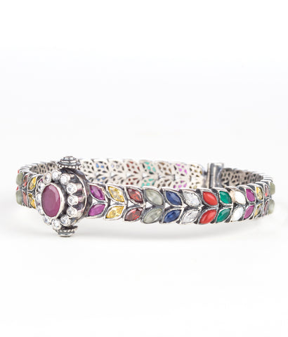 The Ksemya Navarathna Silver Gemstone Bangle (Oxidised)
