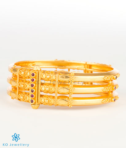 Gold plated silver bangles South Indian temple jewellery style