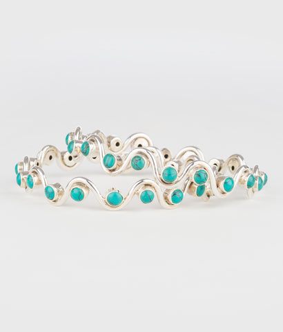 The Rasophala Silver Bangle (Turquoise)
