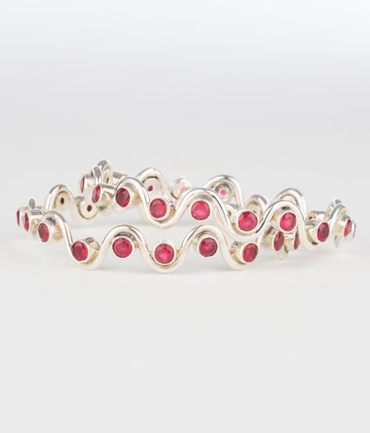 The Rasophala Silver Pearl Bangle(Red)