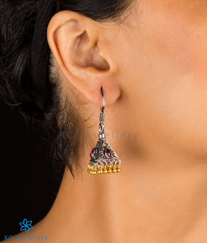 The Trivrt Silver Jhumka(Two-tone)