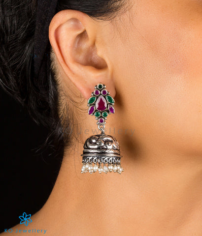 The Samaira Silver Gemstone Jhumka (Red/Green)