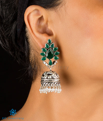 The Aarzoo Silver Gemstone Jhumka(Green)