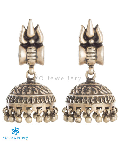 The Trishul Silver Jhumka