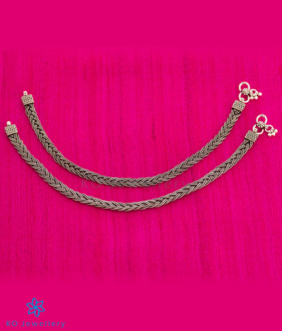 The Silver Braid Anklets