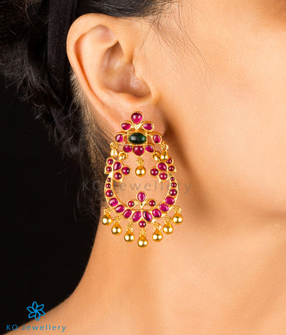 The Myra Silver Chand Bali Earrings (Red/Green)