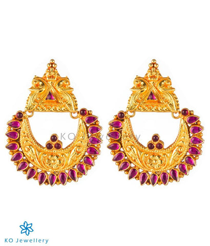 The Nilavarna Silver Peacock Earrings(Red)