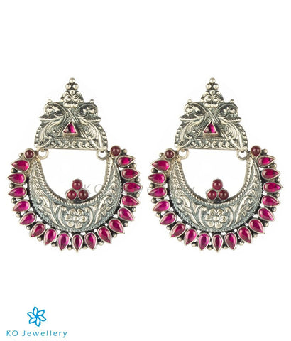 The Nilavarna Silver Peacock Earrings(Red/Oxidised)