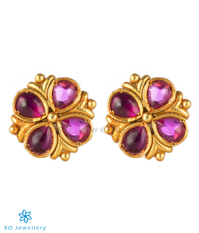 The Ananya Silver Kempu Ear-Studs(Red)