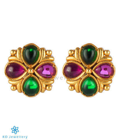 The Ananya Silver Kempu Ear-Studs(Red/Green)