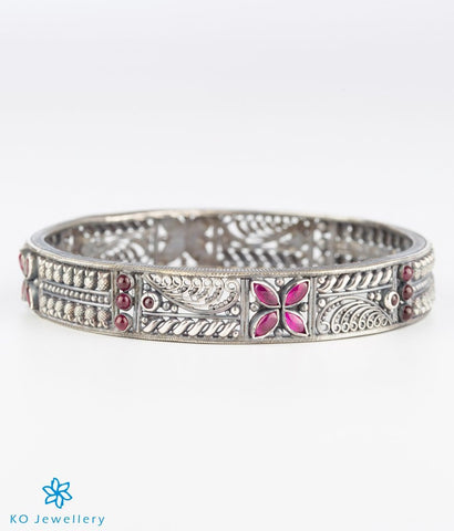 The Mithila Silver Bangle (Red/Oxidised)
