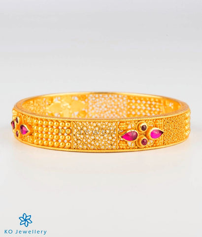 The Manya Silver Bangle (Red)