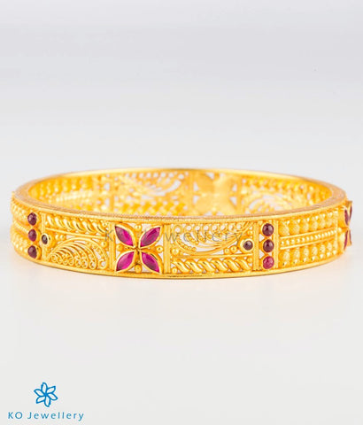 The Mithila Silver Bangle (Red)