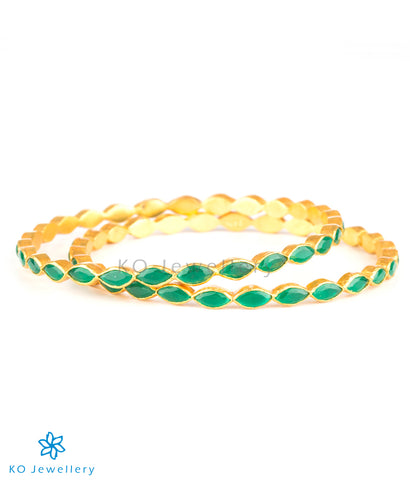 The Avantika Silver Kemp Bangle(Green)