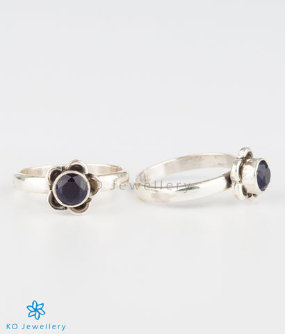 The Pauspa Silver Toe-rings (Blue)