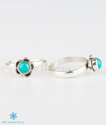 The Pauspa Silver Toe-rings (Turquoise)