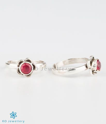 The Pauspa Silver Toe-rings (Red)