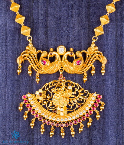 The Manthan Silver Peacock Necklace